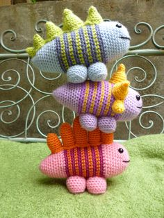 Strip-o-saurs - Amigurumi Crochet Pattern (Available in English Language only) A rare chance to come face to face with a family of dinosaurs known as Stripe-o-saurs. Re-constructed from ancient DNA found trapped in amber and translated into an amigurumi pattern. Now with only a