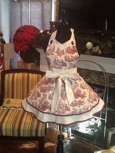 Retro Classy Red Toile Two-Tiered Apron by MothersApronString