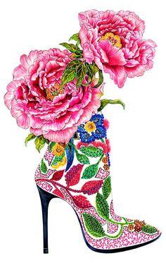 Shoe Addiction - Inspired by pink peonies & Barbara Bui High Heel - Fashion illustration by Sunny Gu.: