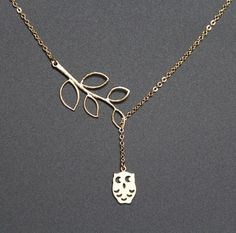 Branch and Owl Lariat Necklace, Branch and Owl necklace, Gold Necklace, bird charm necklace, Modern Bridal necklace, mom gift, JEW000145