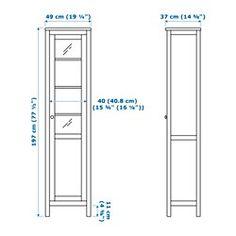 HEMNES Kaappi umpi-/vitriiniovi, valkoiseksi petsattu - 49x197 cm - IKEA
