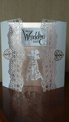 Wedding card using Tonics First Dance and Lynch Gate die set. I cut out two couples one in white linen the other in dusky pink satin board and overlapped to create a shadow effect. Pink Satin, First Dance, Vinyl Art, Anniversary Cards, Lynch, Wedding Cards, Gate, Couples, Board