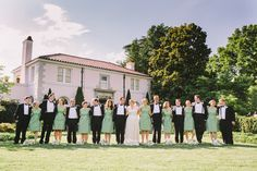 celadon and black & white bridal party | Sam Stroud #wedding