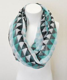 Loving this Leto Collection Aqua Triangle Infinity Scarf on #zulily! #zulilyfinds