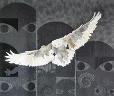 Snowy Owl Meets West Coast Totems by Judy Farrow (Vancouver, Canada).  Featured at See How We Sew.