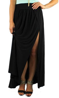 Paneled Maxi Skirt with Front Slits
