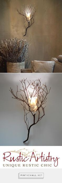 Twig Sconce with Handmade Paper Shade http://rusticartistry.com/product/twig-sconce-with-handmade-paper-shade/