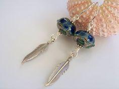 Artisan Lampwork Feather Boho Earrings  by Joannsfortheluvofit
