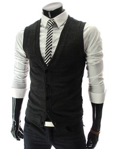 Obviously not for me but love this look for the male population :D Slim Fit Button Knit Vest Waist Coat