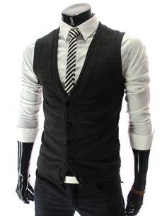Slim Fit Button Knit Vest Waist Coat