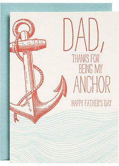 Letterpress Anchor Father's Day Card from Paper Source Teachers Day Gifts, Gifts For Dad, Fathers Day Crafts, Happy Fathers Day, Dad Birthday, Birthday Cards, Daddy Day, Nautical Gifts, Paper Source