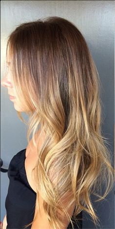 Brunette with melted butter highlights - YUM. This sunkissed shade was perfected by colorist Mina Kwok.