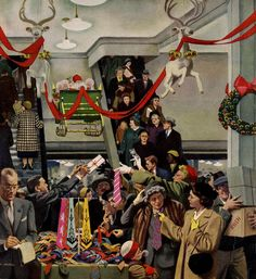 Christmas shopping for menswear - detail from the Saturday Evening Post,December 6, 1952 cover. Arworkt by John Falter.