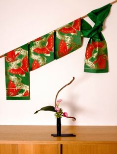 japanese itnerior decorating - using fabrics as wall art in japanese style