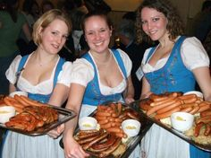 """The typical food you can eat anywhere in Germany is the sausages, or the famous """"Wursts"""" how it is called in Deutschland. This gastronomic food is a tradition in Germany. Octoberfest Girls, Oktoberfest Beer, Beer Maid, German Girls, Beer Girl, How To Make Sausage, German Beer, Beer Festival, Wine And Beer"""