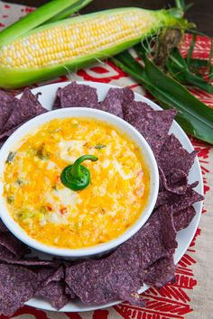 hot cheesy corn dip...just add tomatoes and avocado to the top!