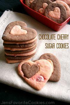 Chocolate Cherry Sugar Cookies from Jen's Favorite Cookies #valentine #heart