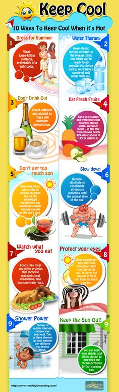 10 Ways To Keep Cool When it's Hot –   A HealthyTimesBlog Graphic