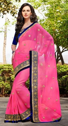 Pink color Party Wear Saree-Georgette Embroidered #Saree