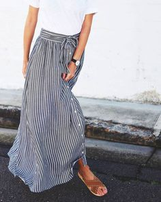 Gray & white stripes button up skirt with white tee and brown sandals and watch for spring or summer outfit inspiration