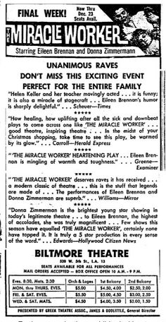 "Promotional Ad for the 1961 Premiere Los Angeles Production of the William Gibson play ""The Miracle Worker"" at the Biltmore Theatre."