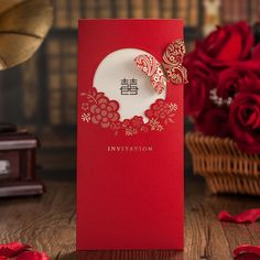 Asian Theme Garden Flower Butterfly Red Wedding Invitation Card 2015 New Marriage Card Free Customized Print envelope & seal from only $1.10 including free shipping worldwide