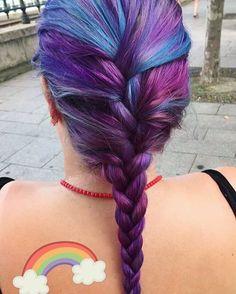 Purple hair and rainbows #manicpanic #galaxy #rainbow #frenchbraid #bluehair #purplehair #budapest #travel