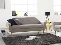 Canapé 3 places en tissu COPENHAGUE gris et jaune prix promo canapé AchatDesign 499.00 € TTC au lieu de 699 €