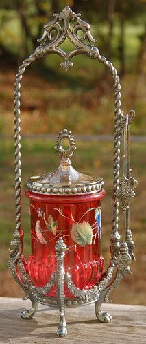 Victorian Decorated Cranberry Glass Pickle Castor in Ornate Tufts Frame