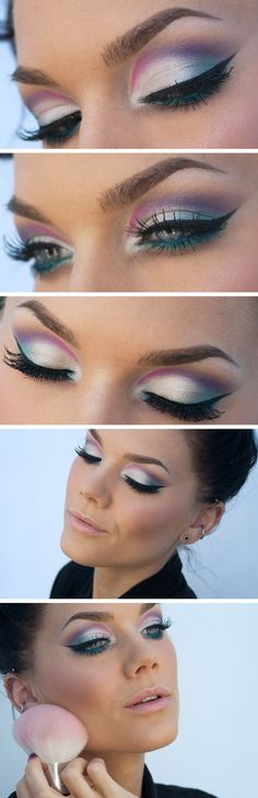 Recreate this look using the following Younique makeup. Prime entire eye. On inner 2/3 of lid use Angelic Mineral pigment. On outer corner of lid and lower lash line use Heavenly Mineral pigment. On inner 1/2 of crease use Regal Mineral pigment & Precious on outer 1/2 of crease. Use Perfect eye pencil on top to create wing. Finish with 3D+ Fiber lash mascara. Use sweet blush and Loveable lipgloss.
