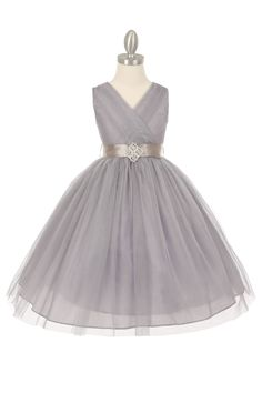 Silver Tulle V-Neck with Rhinestone Brooch Flower Girl Dress (Available in Sizes in 6 Colors) - Junior Bridesmaid Dresses - JUNIOR Tulle Flower Girl, Flower Girl Dresses, Flower Girls, Vestidos Color Plata, The Dress, Baby Dress, Dress Girl, Bridesmaid Dresses, Prom Dresses