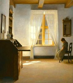 Peter Vilhelm, Danish artist 1861-1933).  His art depicts quiet, peaceful, domestic scenes with an air of loneliness to them.  There is usually lovely use of sunlight pouring through windows.