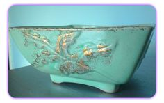Vintage Square Bowl Aqua 1959 Frank's Made in USA by SparkleSet