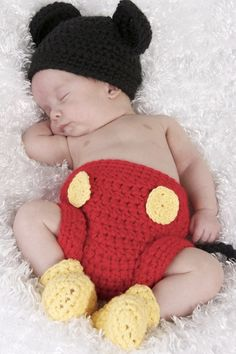 Mickey Mouse crochet costume. Love!