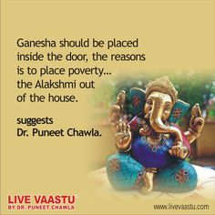 Ganesha should be placed inside the door, the reasons  is to place poverty.... the Alakshmi out of the house.  suggests Dr. Puneet Chawla.  Live Vaastu By Dr. Puneet Chawla