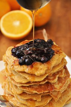 Whole Wheat Griddle Cakes with Orange Blueberry Compote || Minimalist Baker