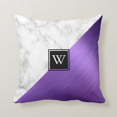 Purple Brushed Metal Marble Monogram Color Block Throw Pillow | This chic pillow features a color block design of purple faux brushed metal and white marble triangles. Personalize it with your monogram initial in white on a double-bordered black square. Purple Throw Pillows, Bed Pillows, Brushed Metal, Monogram Initials, Shades Of Purple, Custom Pillows, Special Gifts, Your Design, Art Pieces