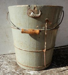 antique grey painted wooden ice cream maker by BandCEmporium