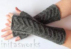 Fingerless Gloves Long Dark Gray 10 Mittens Arm by Initasworks, $44.00