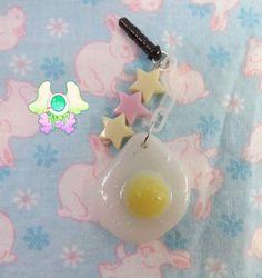 Kawaii Egg Dust Plug  Phone Strap  Keychain  Black by SammysJewels