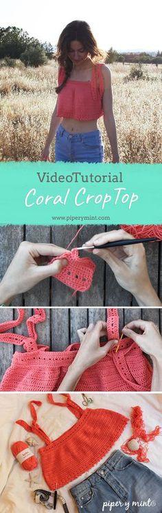 Videotutorial Coral Crop Top crochet. Tutorial paso a paso. Patron crop top. Patron top verano crochet.
