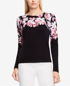 Vince Camuto Floral Sweater - Sweaters - Women - Macy's