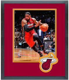 LeBron James Miami Heat 2013-14 Playoffs -11 x 14 Team Logo Matted/Framed Photo