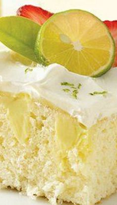 Key Lime Poke Cake ~ Bring the great flavor of key lime pie to a wonderful white cake. It's refreshing and fantastic! Poke Cake Recipes, Poke Cakes, Cupcake Cakes, Dessert Recipes, Bundt Cakes, Frosting Recipes, Cup Cakes, Dessert Ideas, Appetizer Recipes