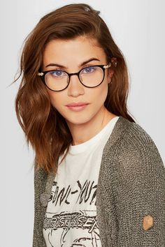 Gucci - Round-frame Acetate And Gold-tone Optical Glasses - Black - one size