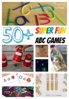 50+ Fun ABC Games for Kids! Alphabet games, printables, outdoor activities... lots of inspiration for preschool and kindergarten.