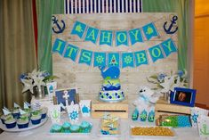 Fun dessert table at a whales baby shower birthday party! See more party ideas at CatchMyParty.com!