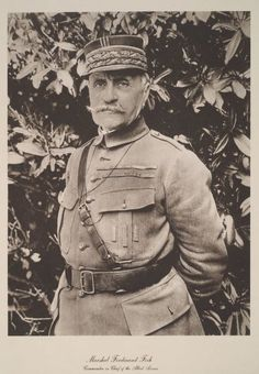 """WW1: French Marshal Ferdinand Foch became Supreme Commander of the Allied Armies with the title of Généralissime (""""Supreme General"""") in March 1918. He had previously held several high commands in the French Army. The Allied armies under Foch's command ultimately held the advance of the German forces during the great Spring Offensive of 1918 and at the Second Battle of the Marne in July 1918, thus paving the way for Germany's defeat in November of that year."""