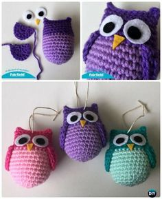 Crochet Amimigurumi Colorful Owl Ornament Free Pattern-Amigurumi Crochet Owl Free Patterns