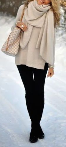 #winter #fashion / cream knit layers